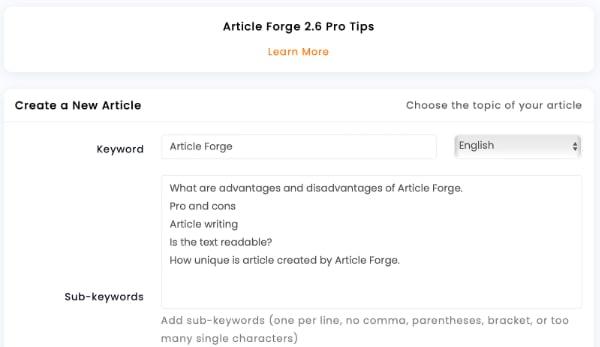 Article Forge setup - unique article